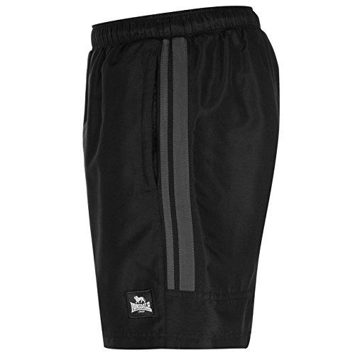 Lonsdale - Pantalones cortos de entrenamiento para hombre, dos rayas, malla interior Negro negro/gris 42