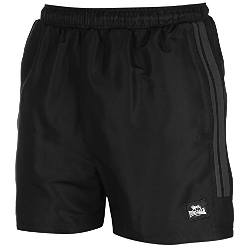 Lonsdale - Pantalones cortos de entrenamiento para hombre, dos rayas, malla interior Negro negro/gris 4X-Large