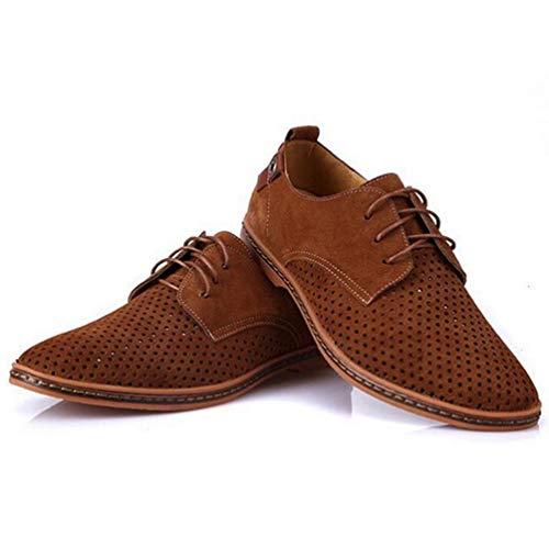 Los Hombres Oxfords Zapatos Hombre Verano Transpirable Ante Corte De Zapatos De Cuero Zapatos De Vestido De Salidas