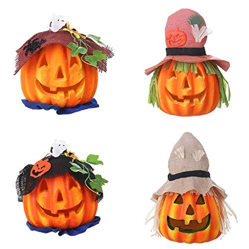 LQH Fiesta de Halloween Sombrero de espantapájaros Calabaza lámpara Que Brilla Espuma de Calabaza de la lámpara for Bar (Size : 3)