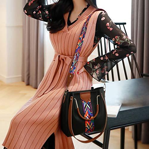 Luckycat Bolsos bandolera para Mujer 2019 Primavera y Verano Moda mano Carteras de mano y clutches monedero Shoppers y bolsos de hombro Cuero de la PU Señora de Juego de cuatro piezas