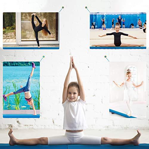 LUDOSPORT 240cm/10cm Viga de Equilibrio de Gimnasia Plegable, Barra de Equilibrio Antideslizante para Niños, Principiantes y Gimnastas Profesionales, para hogar y jardín, color azul
