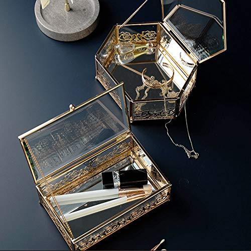 Lujo de cristal chapado en oro de joyería caja de hierro forjado, creativo casero cordón de la caja de almacenaje, joyas de oro de la vendimia caja cofre del tesoro, dormitorio escritorio Acabado bara