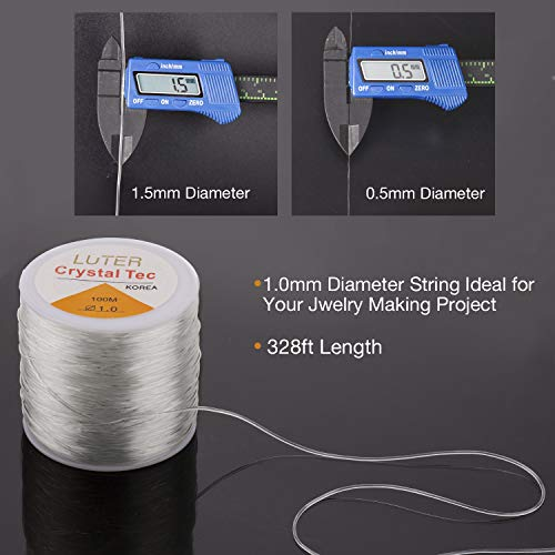 LUTER 1mm Hilo Elástico Transparente - Pulsera Elástica Cuerda de Cuerda Claro Elástico Hilo de Abalorios para Fabricación de Joyas Pulsera de Collar - 100 m