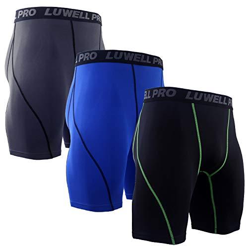 LUWELL PRO 3 Piezas Mallas Hombre de Secado Rápido para Pantalon Corto Hombre Deporte para Gym, Yoga, Running(Negro Gris Azul-M)