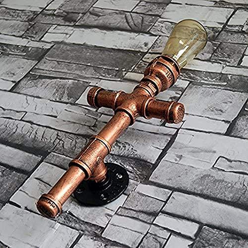 Luz de gabinete de pared, Bermnn Robusto Steampunk Hierro Metal luz pared antigua, Grifo de Agua de pared de luz, bronce pequeña jaula de la lámpara E27 Con Outlet, Retro Cafe Industrial Pasillo Decor