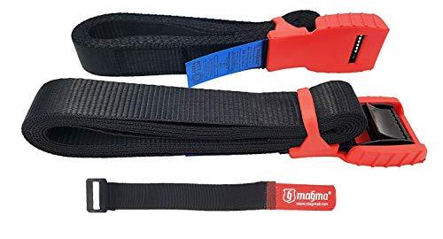 MAGMA Pack 2 Cinchas de Amarre de 3m | Correas para Baca Coche y Portabicicletas. Surf, Bici, Kayak, Moto | Hebilla -Trinquete con Protección de Goma para no rayar | Carga Segura - SWL: 250kgf Rojo