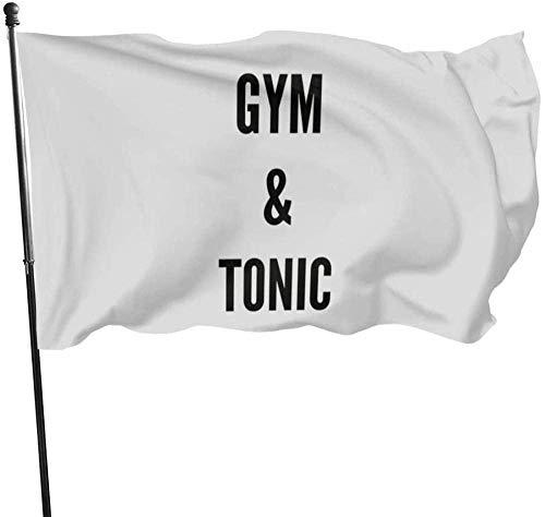 maichengxuan Bandera de Jardín Sign Outdoor Party Indoor Banner 3x5 FT Funny Workout Bodybuilder Gym Tonic Fitness Bandera Banner Banderas