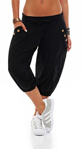 Malito Mujer Corto Bombacho Pantalón con Cinturón Baggy Aladin Yoga Pants 3416 (Negro)