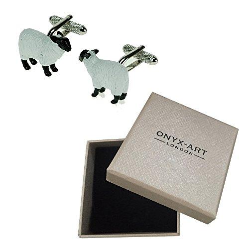Mancuernas de la novedad Sheep Farm Animal de la caja de regalo de lujo en