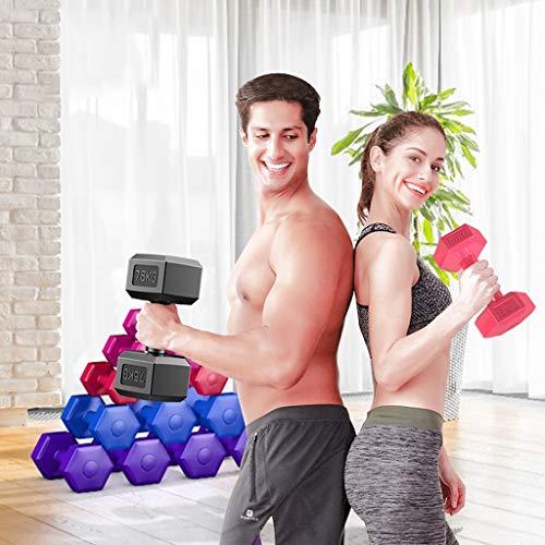 Mancuernas Recubierta de caucho hexagonal Pesas de levantamiento de pesas de formación básica de Can hacer flexiones de brazos ergonómico cómodo la fuerza de agarre dos pesas 12kg Fitness y ejercicio