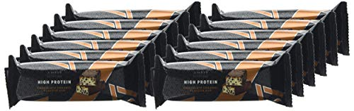 Marca Amazon- Amfit Nutrition Barra de proteína baja en azúcar (19,6gr proteina - 1,6gr azúcar) - chocolate y caramelo - Pack de 12 (12x60g)