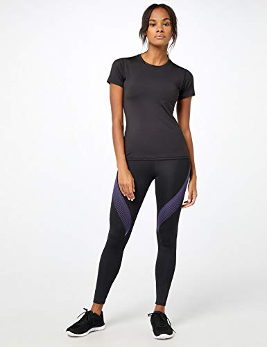 Marca Amazon - AURIQUE Bal181la18 - leggings deporte mujer Mujer, Negro (Black/Dahlia Purple), 36, Label:XS