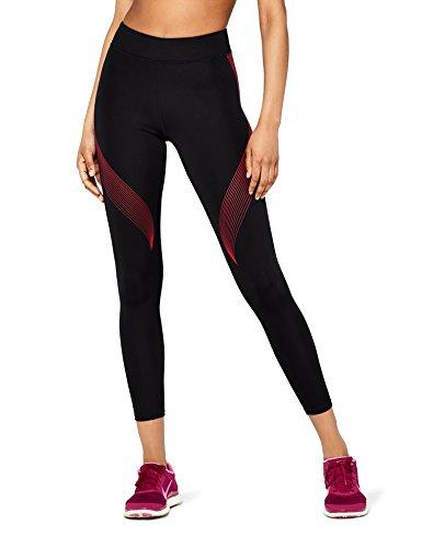 Marca Amazon - AURIQUE Bal181la18 - leggings deporte mujer Mujer, Negro (Black/love Potion), 40, Label:M