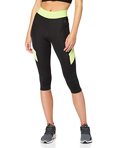 Marca Amazon - AURIQUE Contrast Panels BAL004, Mallas de entrenamiento Mujer, Multicolor (Black/Lime), 10 (Manufacturer size: Small)