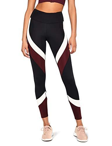 Marca Amazon - Aurique Leggings deportivos para Mujer, Negro (Black/Port Royale/Blush), 40, Label:M