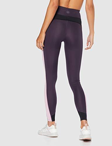 Marca Amazon - AURIQUE Mallas de Deporte Combinadas con Tiro Alto Mujer, Morado (Nightshade/Black/Mauve Mist), 36, Label:XS