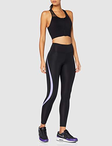Marca Amazon - AURIQUE Mallas de Deporte Tiro Alto Mujer, Negro (Black/Dahlia Purple), 42, Label:L