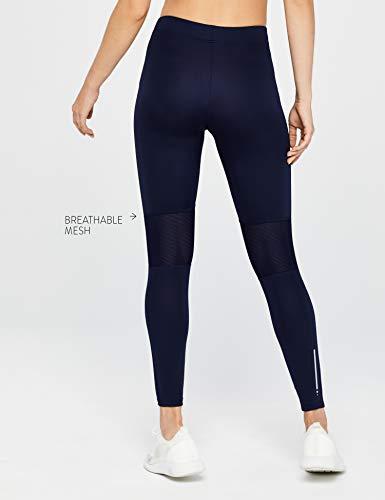 Marca Amazon - AURIQUE Mallas Largas de Deporte Mujer, Azul (Navy), 40, Label:M