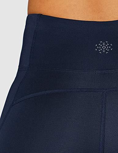 Marca Amazon - AURIQUE Mallas para Correr por el Tobillo de Tiro Alto Mujer, Azul (Navy/White), 42, Label:L