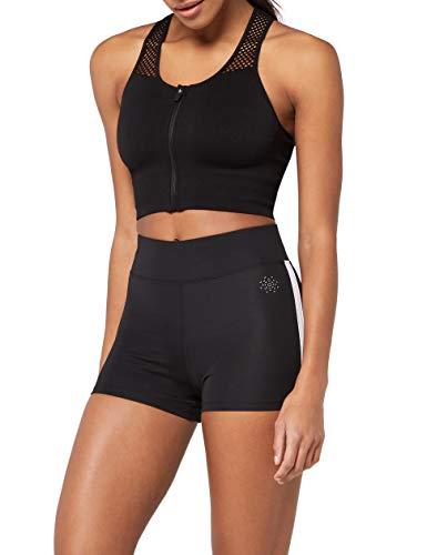 Marca Amazon - AURIQUE Shorts de Deporte con Banda Lateral Mujer, Negro (Black), 42, Label:L