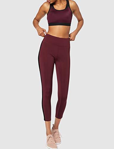 Marca Amazon - Aurique Sujetador para Deportes de Medio Impacto Mujer, Negro (rojo morado/negro)., L, Label:L