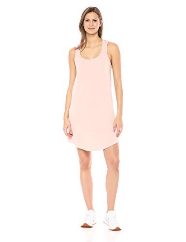 Marca Amazon – Daily Ritual: vestido de algodón terry súper suave con espalda musculosa y faldón para mujer., Rosado, US L (EU L - XL)