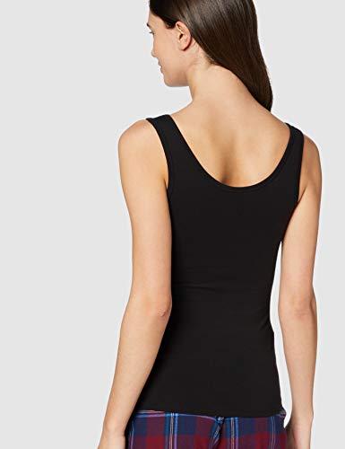 Marca Amazon - IRIS & LILLY Camiseta Interior Térmica Ligera de Tirantes para Mujer, Pack de 2, Negro (Black), M, Label: M