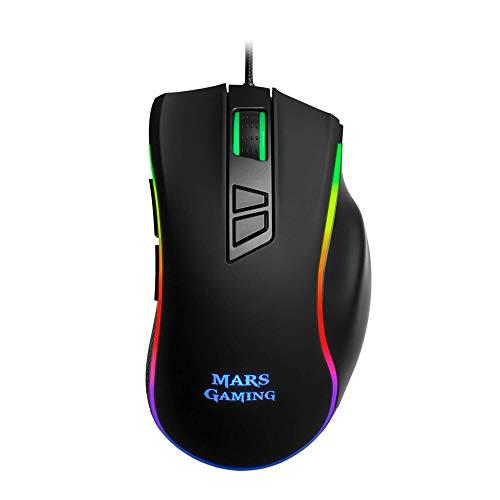 Mars Gaming MM318 - Ratón PC, 24000DPI, óptico, botón SNIPE, RGB, grip magnético