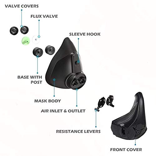Máscara de entrenamiento Qise, deportiva, capacidad vital, correr, 48 niveles de resistencia respiratoria, máscara de fitness, resistencia de elevación, respiración, oxígeno para adultos
