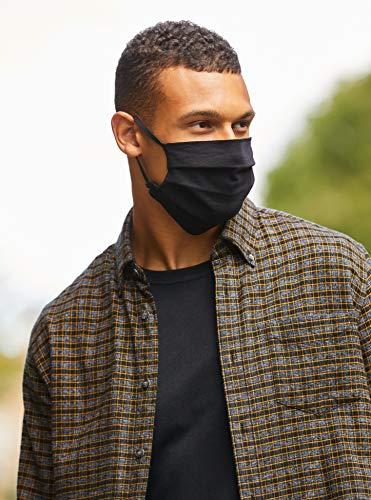 Máscara reutilizable de Oscar Apparels, 100% algodón con sello de BCI (Better Cotton Initiative) y Cinta Elástica, Negra, Adulto (5 pack)
