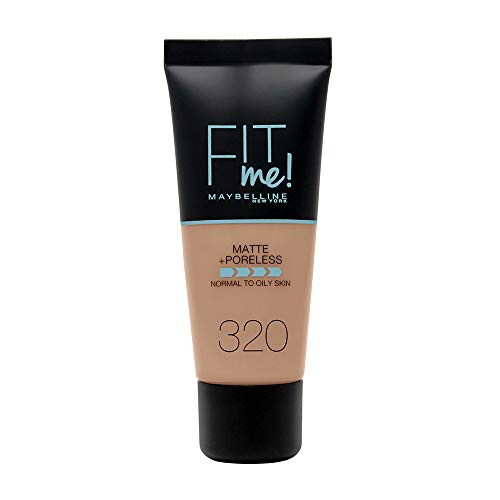 Maybelline New York - Fit Me, Base de Maquillaje Mate Afina Poros, Tono 320 Natural Tan - 30 ml