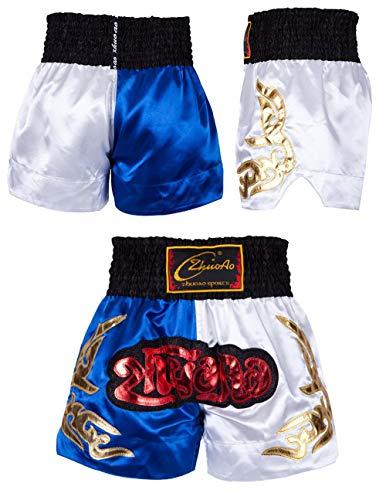 Mcaishen Muay Thai Fight Shorts Boxing Sanda Ropa Pantalones Cortos De Entrenamiento Lucha Artes Marciales Shorts De Taekwondo Ropa Hombres Y Mujeres Costura(S,Black)