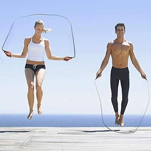 mds - Comba Crossfit Hombre y Mujer | Comba Ajustable Azul | Comba Fitness | Salto de Velocidad | para Crossfit, Fitness, Boxeo | 3 Metros Cuerda Saltar | Mango de Acero Inoxidable y Ergonómico