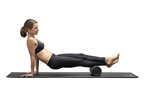 Medisana PowerRoll Rollo de fascia para columna vertebral, espalda, piernas, para ejercicios de fascia con plan de entrenamiento, tensión, yoga con función de vibración, 8 intensidades