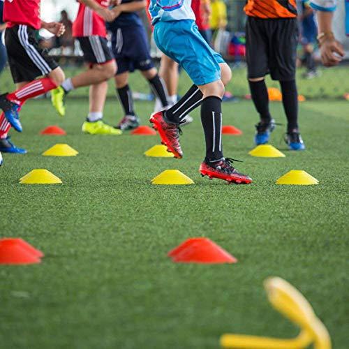 Mengger Conos Entrenamiento, Disco Marcador Entrenamiento Fútbol Juegos Agilidad Seguridad Field Space Marker para Educación Física Deportivo Niños Deportes Marcadores Campo Set de 10 Conos