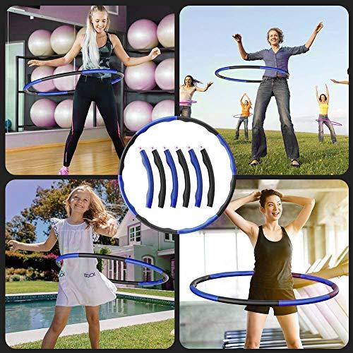 Merpin Círculo de acondicionamiento físico, círculo de Adelgazamiento para Adelgazar, círculo de Gimnasia, Revestimiento de Espuma extraíble, botón de Masaje,(Pink+Blue)