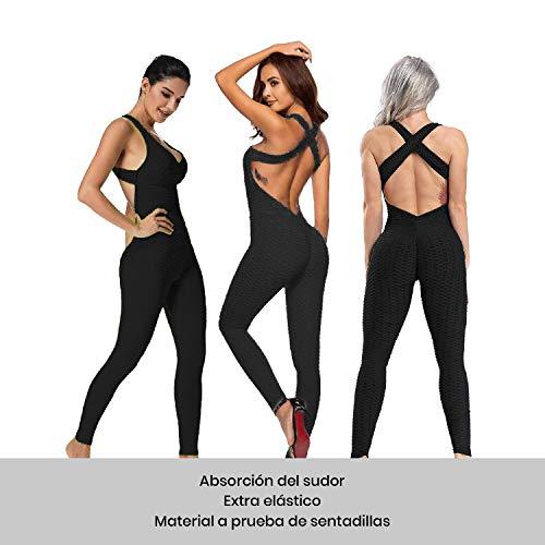Mimoka Monos Pantalones Deportivos Mujer Elástico y Transpirable   Leggins Mujer Fitness Push up con Tirantes para Yoga GYM Running (L, Negro)