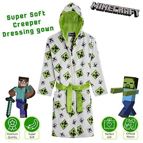 Minecraft Bata para Niños con Diseño Creeper, Batas de Estar por Casa de Forro Polar Suave con Capucha, Ropa de Dormir para Niño, Regalos Originales para Gamers (9-10 años)