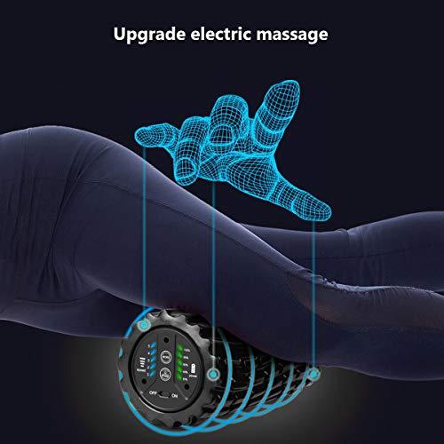 Mingfuxin Yoga eléctrico Fitness Espuma Rodillo de Carga de la Fascia Masaje Profundo Yoga Columna de 5 velocidades Ajustable de Espuma sólida del Eje de Alivio de la Fatiga Muscular (Gray)