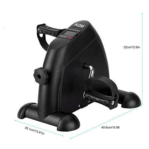 Mini bicicleta estática pedales aparato de ejercicios para Entrenamiento de Brazos y Piernas en casa (Negro)