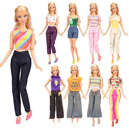 Miunana 5X Vestidos de Noche Casual Ropas con Camiseta y Pantalones Estilo Aleatorio como Regalo para 11.5 Pulgadas 28 - 30 cm Muñeca - CE Certificado