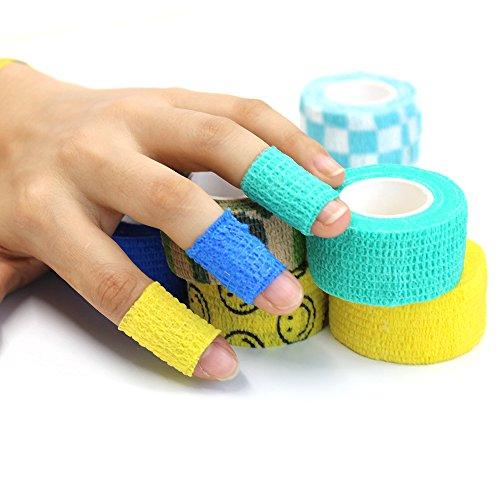MMBOX Coban Sport - Cinta adhesiva para dedos, 2,5 cm de ancho x 5 m de largo, 10 colores, 2,5 cm