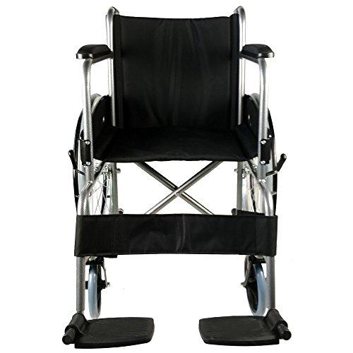 Mobiclinic, modelo Alcazaba, Silla de ruedas para minusválidos, premium, manual, plegable, ortopédica, freno en manetas, reposapiés, reposabrazos, color Negro, asiento, ultraligera
