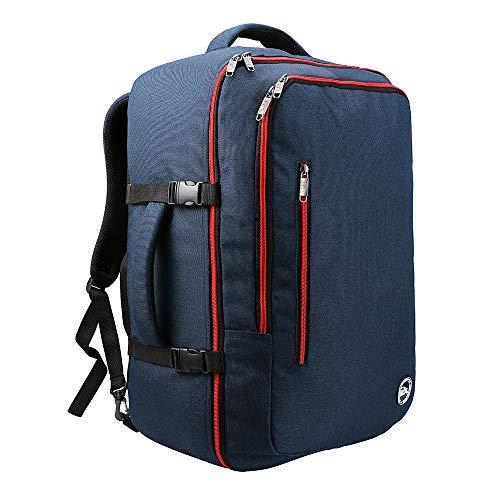 Mochila de Viaje. Mochila de Cabina aprobada para Vuelos como Equipaje de Mano. 55 x 40 x 20 (Azul Marino/Rojo)