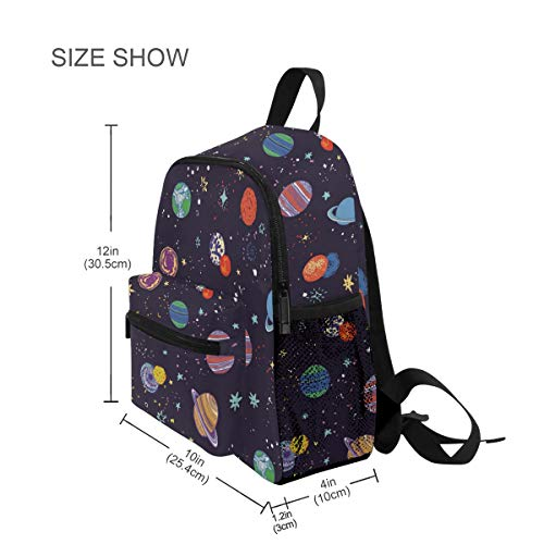 Mochilas Escolares Infantiles, Space Planets Impreso Personalizado Ligero Preescolar Bolsa para Niñas Niños