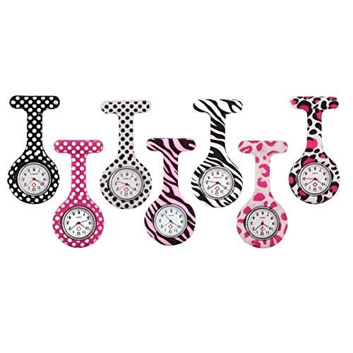 Moda Indumentaria Femenina Enfermera del silicón con Clip del Fob de la Broche de Solapa del Reloj Colgante de Bolsillo Reloj Broche (Color : 5)