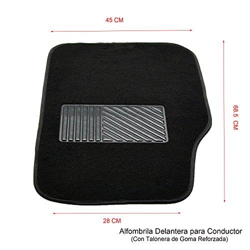 MODAUTO Alfombrillas Antideslizantes para Coche, Talonera de Goma Reforzada, 4 Elementos, Tela, Color Negro, G864