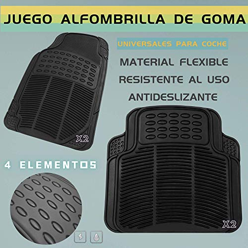 MODAUTO Juego Alfombrillas de Goma Universales para Coche 4 Elementos Negro G822BK