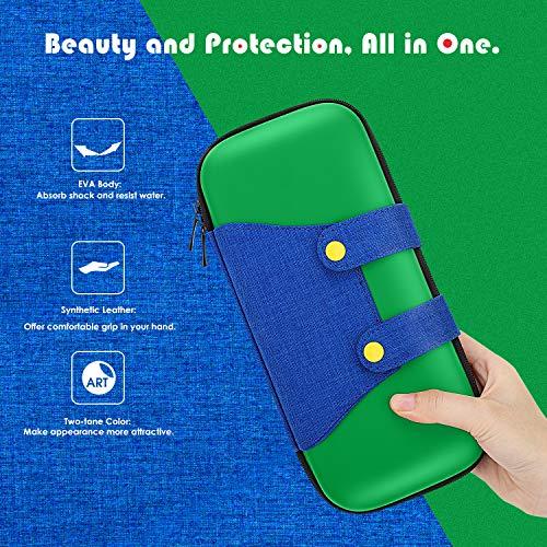 MoKo Funda Compatible con Nintendo Switch, Mario Estuche de EVA + PU Portátil Ligero Protector para el Panel del Control de Nintendo Switch con 10 Puestos de Cartucho de Juego – Verde + Azul